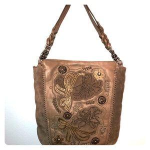 Grey Suede & Beaded Bag